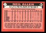 1986 Topps Traded #2 T Neil Allen  Back Thumbnail