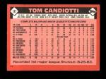 1986 Topps Traded #18 T Tom Candiotti  Back Thumbnail
