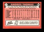 1986 Topps Traded #111 T Andres Thomas  Back Thumbnail