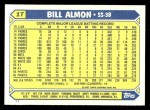 1987 Topps Traded #1 T Bill Almon  Back Thumbnail