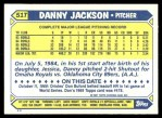 1987 Topps Traded #51 T Danny Jackson  Back Thumbnail