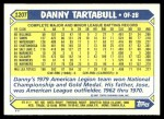 1987 Topps Traded #120 T Danny Tartabull  Back Thumbnail