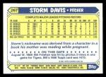 1987 Topps Traded #26 T Storm Davis  Back Thumbnail