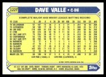 1987 Topps Traded #122 T Dave Valle  Back Thumbnail