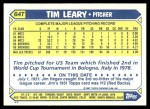 1987 Topps Traded #64 T Tim Leary  Back Thumbnail