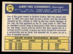 1970 Topps #346  Red Schoendienst  Back Thumbnail