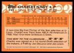 1988 Topps Traded #74 T  -  Charles Nagy Team USA Back Thumbnail