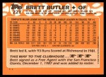 1988 Topps Traded #22 T Brett Butler  Back Thumbnail