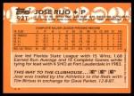 1988 Topps Traded #92 T Jose Rijo  Back Thumbnail