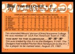 1988 Topps Traded #12 T Tim Belcher  Back Thumbnail