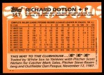 1988 Topps Traded #35 T Richard Dotson  Back Thumbnail