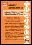 1988 Topps Traded #65 T Mark Marquess  Back Thumbnail