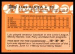 1988 Topps Traded #3 T Luis Alicea  Back Thumbnail