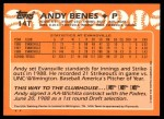1988 Topps Traded #14 T  -  Andy Benes Team USA Back Thumbnail
