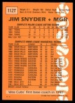 1988 Topps Traded #112 T Jim Snyder  Back Thumbnail