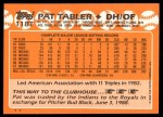 1988 Topps Traded #118 T Pat Tabler  Back Thumbnail