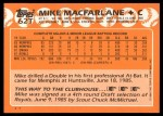 1988 Topps Traded #62 T Mike Macfarlane  Back Thumbnail