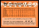 1988 Topps Traded #34 T Jose DeLeon  Back Thumbnail