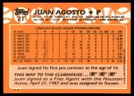 1988 Topps Traded #2 T Juan Agosto  Back Thumbnail
