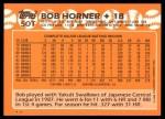 1988 Topps Traded #50 T Bob Horner  Back Thumbnail