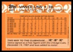 1988 Topps Traded #60 T Vance Law  Back Thumbnail