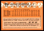 1988 Topps Traded #95 T  -  Doug Robbins Team USA Back Thumbnail