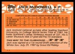 1988 Topps Traded #68 T Jack McDowell  Back Thumbnail