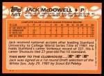 1988 Topps Traded #68 T Jack McDowell  Back Thumbnail