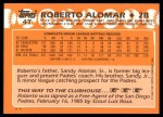 1988 Topps Traded #4 T Roberto Alomar  Back Thumbnail