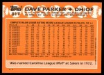 1988 Topps Traded #81 T Dave Parker  Back Thumbnail