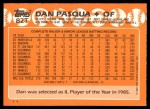 1988 Topps Traded #82 T Dan Pasqua  Back Thumbnail