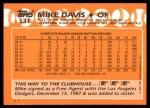 1988 Topps Traded #33 T Mike Davis  Back Thumbnail