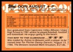 1988 Topps Traded #7 T Don August  Back Thumbnail