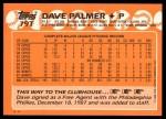 1988 Topps Traded #79 T Dave Palmer  Back Thumbnail