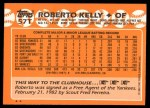1988 Topps Traded #57 T Roberto Kelly  Back Thumbnail