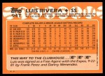 1988 Topps Traded #94 T Luis Rivera  Back Thumbnail