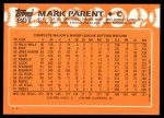 1988 Topps Traded #80 T Mark Parent  Back Thumbnail