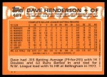 1988 Topps Traded #48 T Dave Henderson  Back Thumbnail