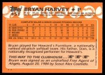 1988 Topps Traded #45 T Bryan Harvey  Back Thumbnail