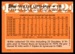 1988 Topps Traded #123 T Willie Upshaw  Back Thumbnail