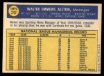 1970 Topps #242  Walter Alston  Back Thumbnail