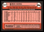 1989 Topps Traded #61 T Eric King  Back Thumbnail