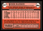 1989 Topps Traded #45 T Erik Hanson  Back Thumbnail