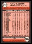 1989 Topps Traded #36 T Cito Gaston  Back Thumbnail