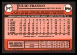 1989 Topps Traded #34 T Julio Franco  Back Thumbnail