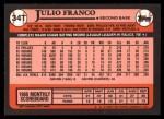1989 Topps Traded #34 T Julio Franco  Back Thumbnail