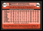 1989 Topps Traded #25 T Benny Distefano  Back Thumbnail