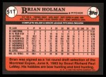1989 Topps Traded #51 T Brian Holman  Back Thumbnail
