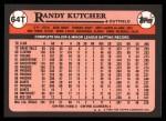 1989 Topps Traded #64 T Randy Kutcher  Back Thumbnail