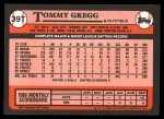 1989 Topps Traded #39 T Tommy Gregg  Back Thumbnail